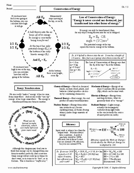 Conservation Of Energy Worksheet Answers Awesome Conservation Of Energy Worksheet for 9th 12th Grade