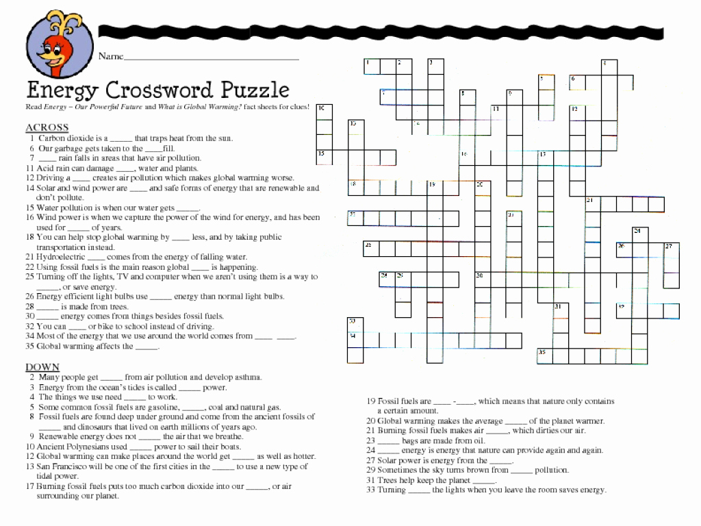 Conservation Of Energy Worksheet Answers Fresh Energy Crossword Puzzle Worksheet for 7th 8th Grade