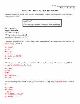 Conservation Of Energy Worksheet Answers Inspirational Conservation Of Energy Worksheet 1