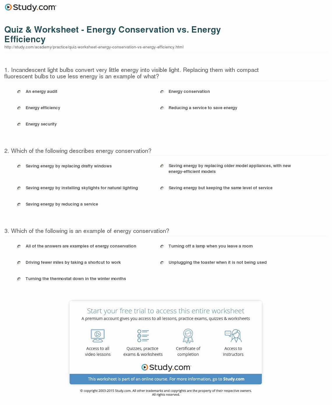Conservation Of Energy Worksheet Answers Lovely Quiz & Worksheet Energy Conservation Vs Energy