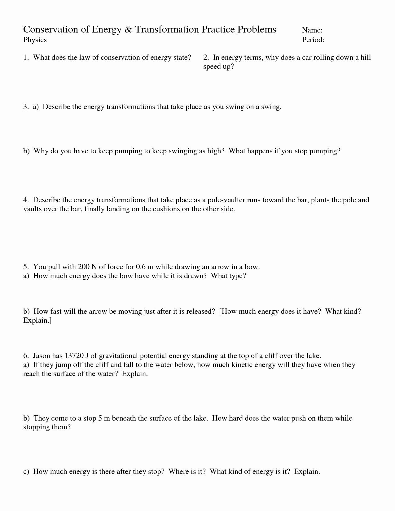 Conservation Of Energy Worksheet Awesome 18 Best Of Energy Transfer Worksheet Pdf