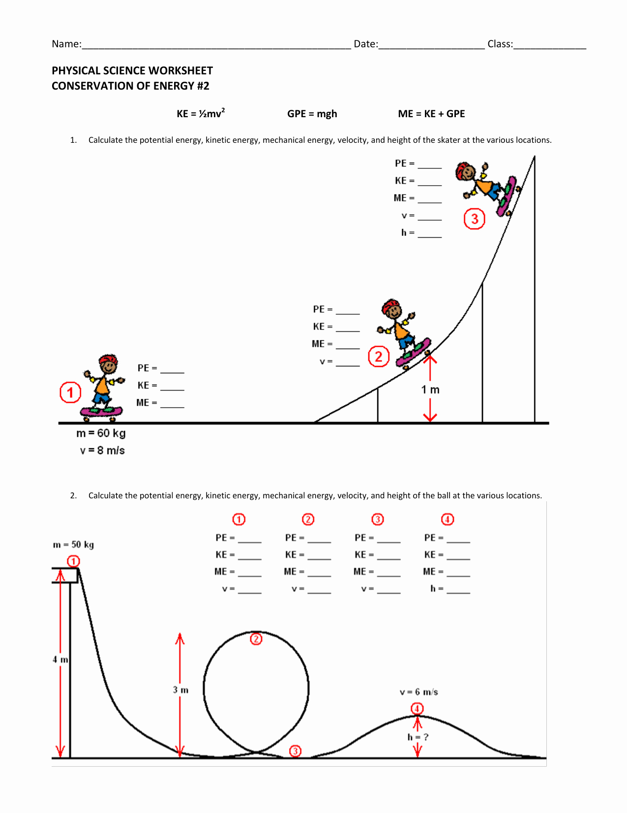 Conservation Of Energy Worksheet Best Of Conservation Of Energy Dragged