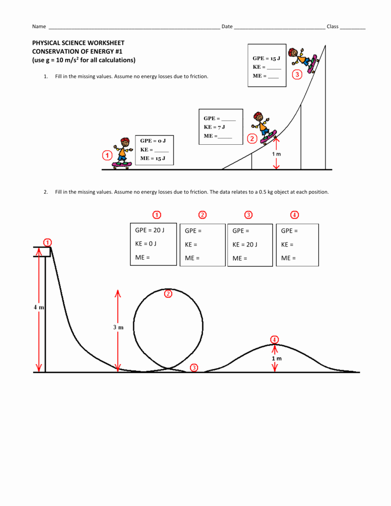 Conservation Of Energy Worksheet Lovely Conservation Of Energy Worksheet 1