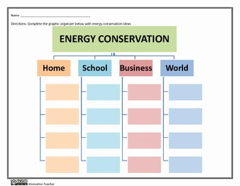 Conservation Of Energy Worksheet Lovely Energy Conservation Graphic organizer Worksheet by
