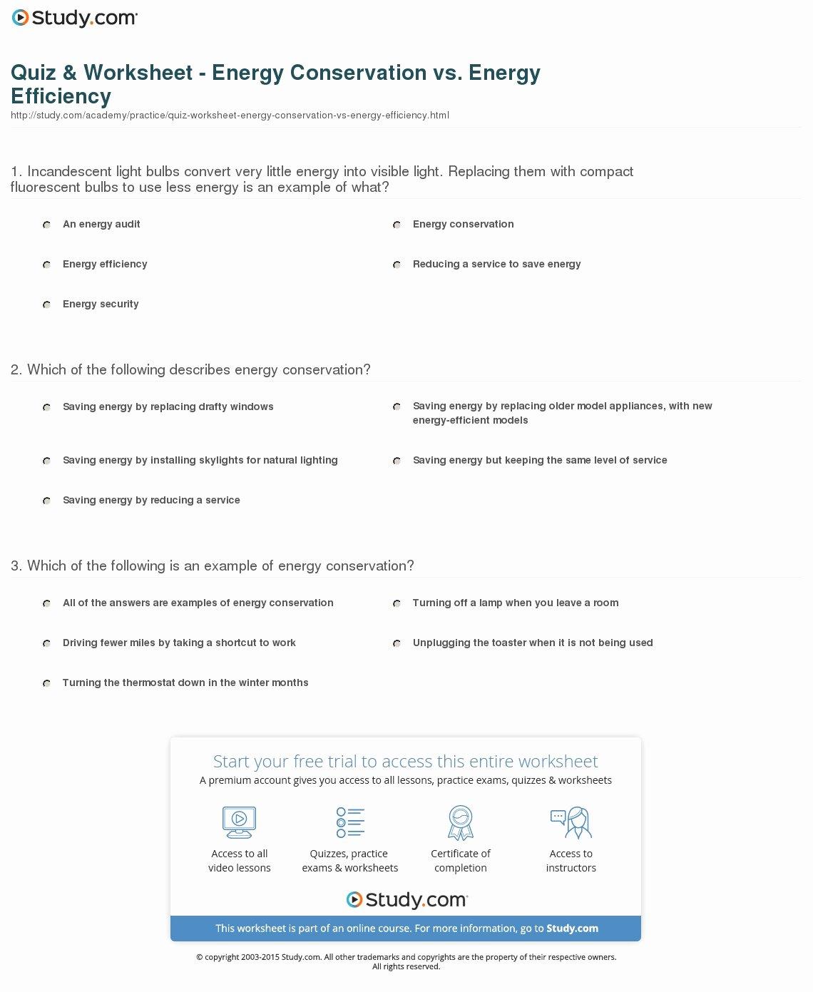 Conservation Of Energy Worksheet Unique Quiz & Worksheet Energy Conservation Vs Energy