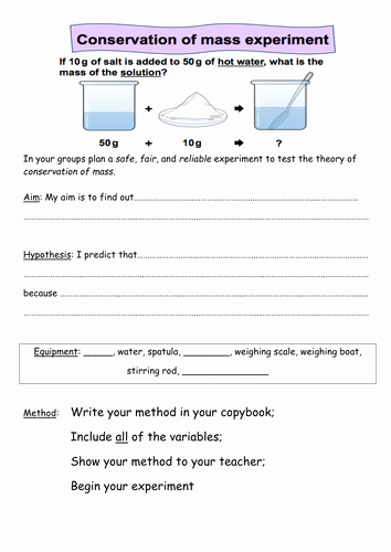 Conservation Of Mass Worksheet Beautiful Mass Conservation Year 7 by Azzy121 Teaching Resources Tes
