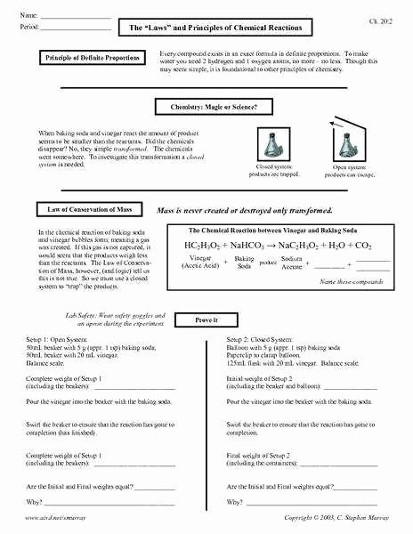 Conservation Of Mass Worksheet Lovely Conservation Mass Worksheet