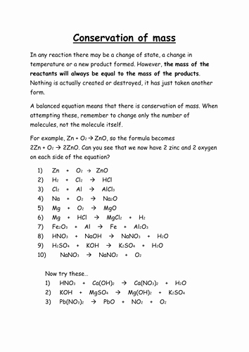 Conservation Of Mass Worksheet Lovely Conservation Of Mass by Bradscorner