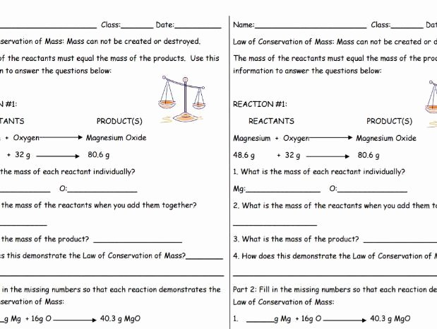 Conservation Of Mass Worksheet Luxury Law Of Conservation Of Mass Practice Sheet 2 Per Page by