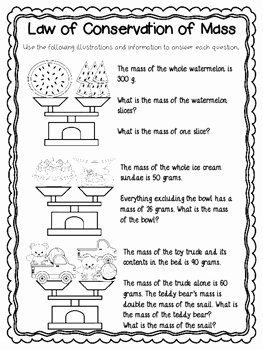 Conservation Of Mass Worksheet New Law Of Conservation Of Mass Worksheets and Mini
