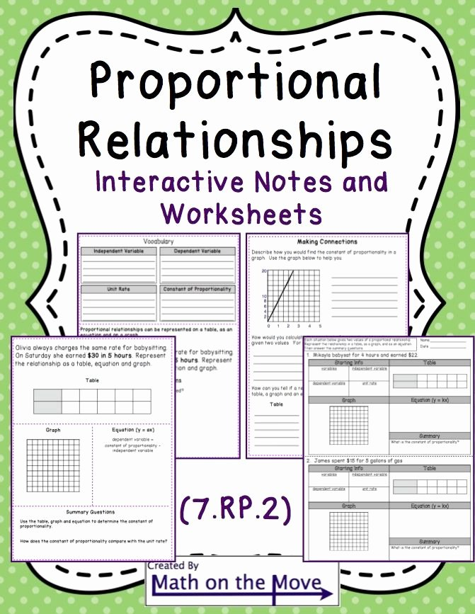 Constant Of Proportionality Worksheet Beautiful Proportional Reasoning Interactive Notes and Worksheets