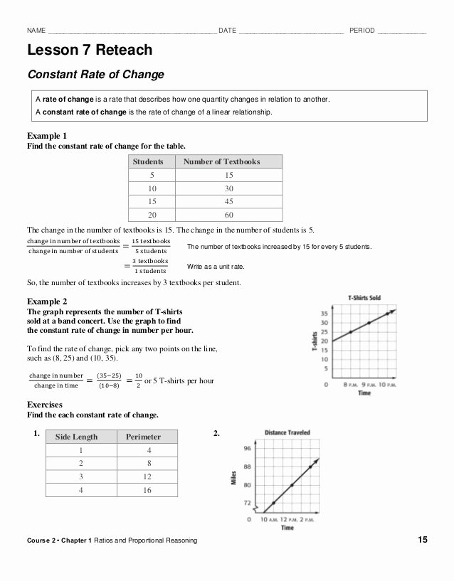 Constant Of Proportionality Worksheet Luxury Reteach Constant Rate Of Change