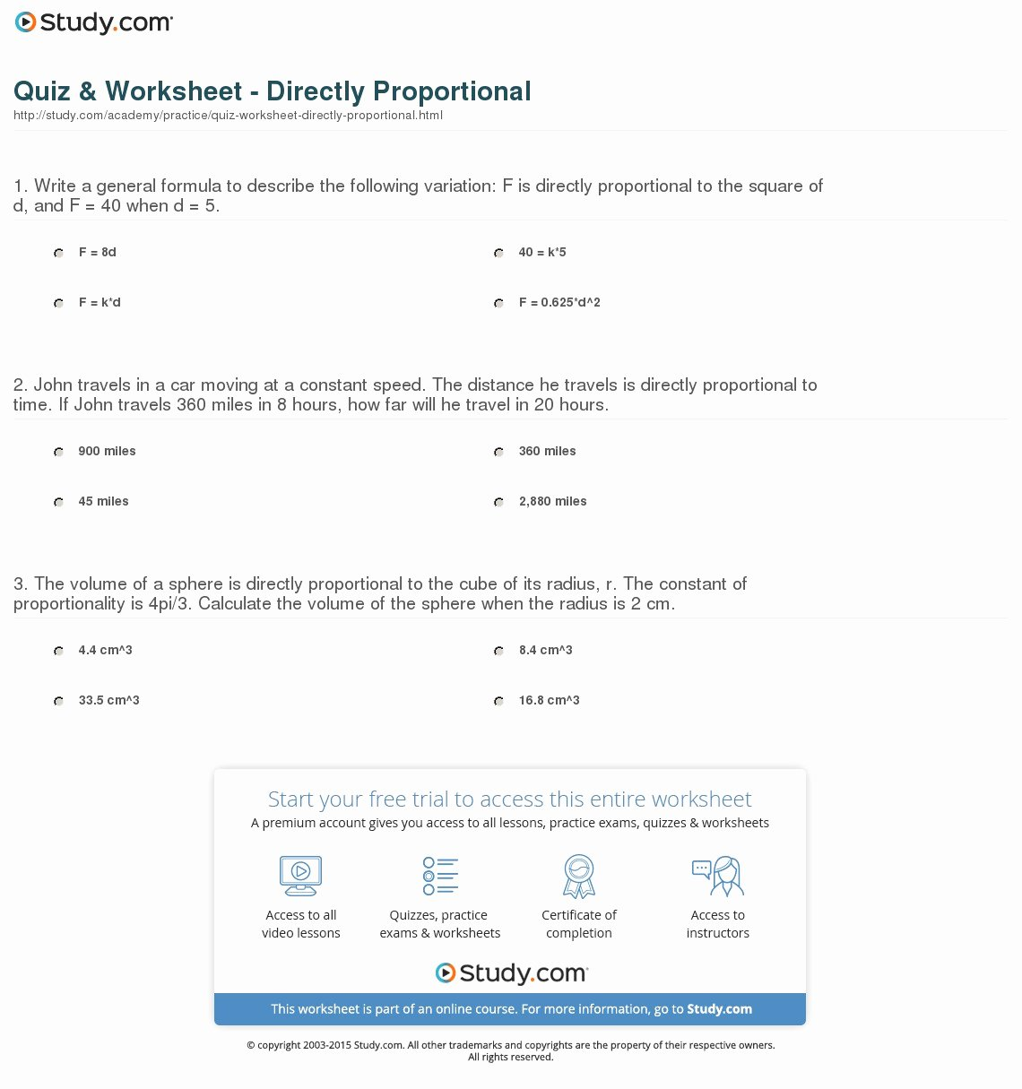 Constant Of Proportionality Worksheet New Quiz & Worksheet Directly Proportional