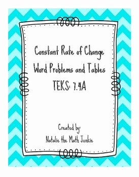 Constant Rate Of Change Worksheet Luxury Constant Rate Of Change Tables and Word Problems by
