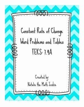 Constant Rate Of Change Worksheet Luxury Constant Rate Of Change Tables and Word Problems by
