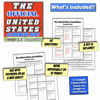 Constitution Scavenger Hunt Worksheet Awesome Constitution Day Lesson Scavenger Hunt Perfect Supplement