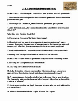 Constitution Scavenger Hunt Worksheet Awesome Constitution Scavenger Hunt Worksheet by Amy Miller