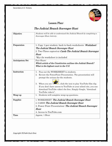 Constitution Scavenger Hunt Worksheet Awesome the Judicial Branch Scavenger Hunt by Chalkdustdiva Us