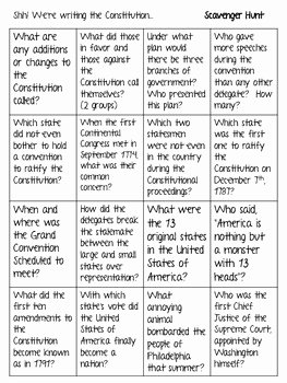 "Constitution Scavenger Hunt Worksheet Elegant ""shh We Re Writing the Constitution"" Scavenger Hunt and"