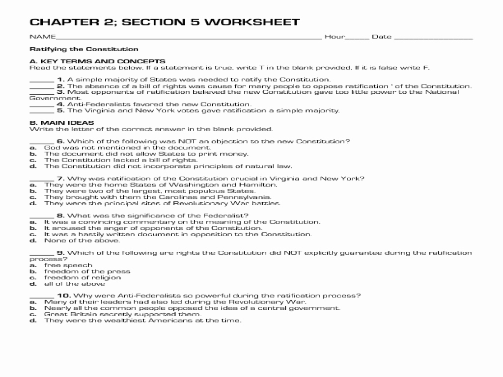 Constitutional Principles Worksheet Answers Best Of Worksheet the Constitution Worksheet Grass Fedjp