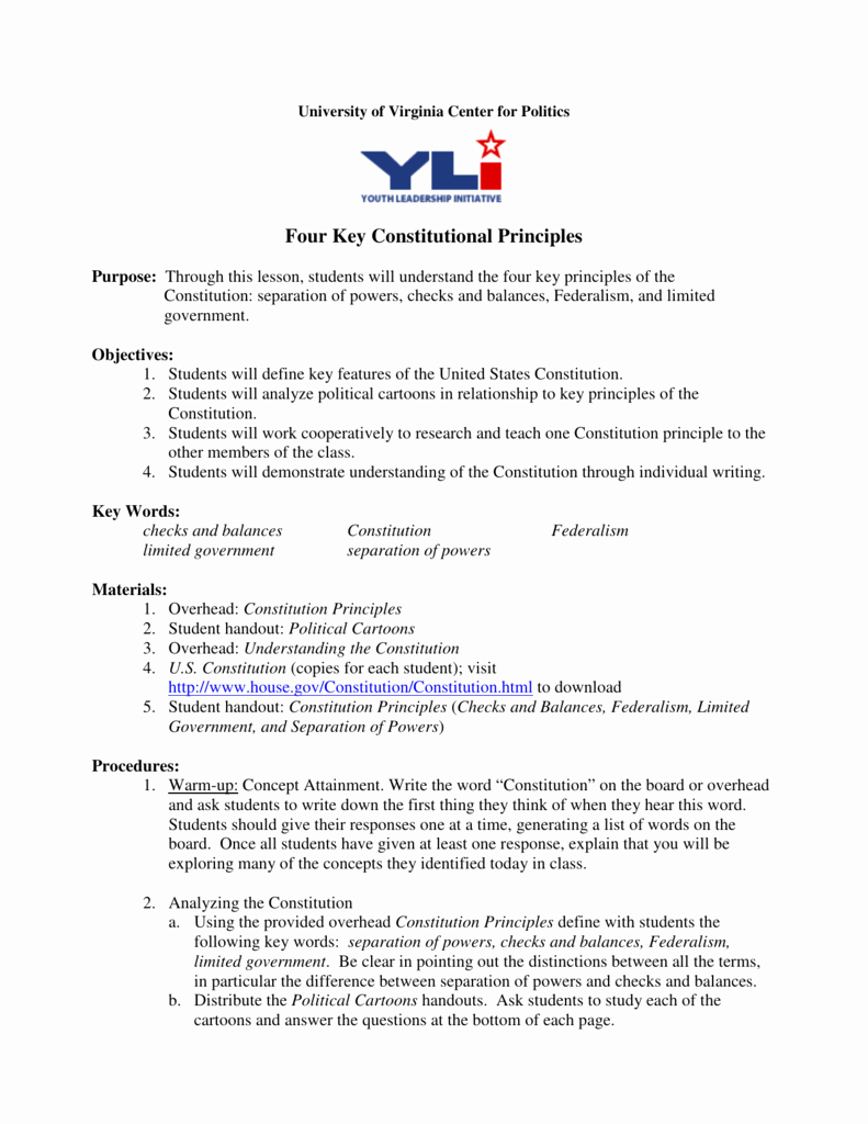 Constitutional Principles Worksheet Answers Inspirational Separation Powers Worksheet Answers