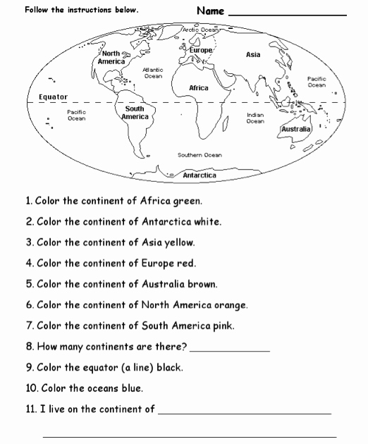 Continents and Oceans Worksheet Best Of Pin On Jms128