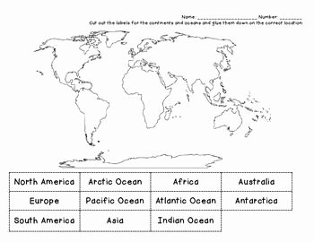 Continents and Oceans Worksheet Elegant Continents Cut & Paste May