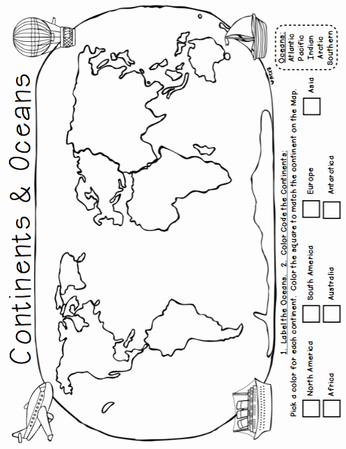 Continents and Oceans Worksheet Fresh Traveling the World Continents Oceans Maps and