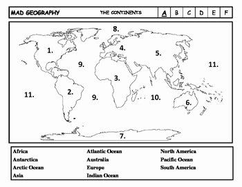 Continents and Oceans Worksheet Luxury Mad Geography Continents and Oceans Blank Map Tests by