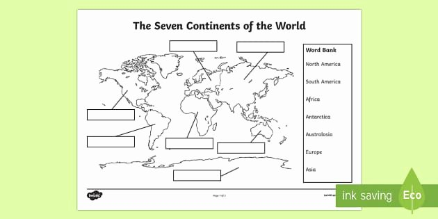 Continents and Oceans Worksheet Luxury the Seven Continents Labelling Worksheet Worksheet