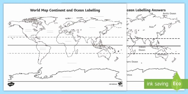 Continents and Oceans Worksheet Luxury World Map Continent & Ocean Labelling Worksheet Worksheet