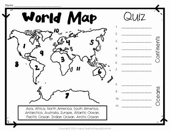Continents and Oceans Worksheet Pdf Awesome World Map World Map Quiz and Map Worksheet 7 Continents