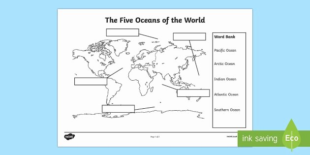 Continents and Oceans Worksheet Pdf Best Of the Five Oceans Labelling Map Worksheet Worksheet the