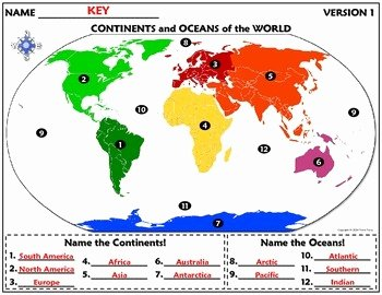 Continents and Oceans Worksheet Pdf Best Of Worksheet Continents and Oceans Of the World by Travis