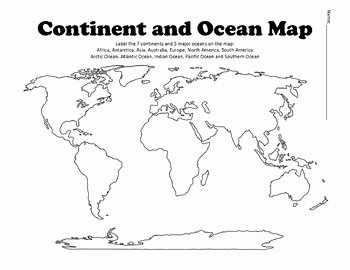 Continents and Oceans Worksheet Pdf Unique Continent and Ocean Map Worksheet Blank by History Hive