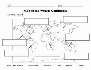 Continents and Oceans Worksheet Pdf Unique Label Map Of the World Continents Oceans Mountain