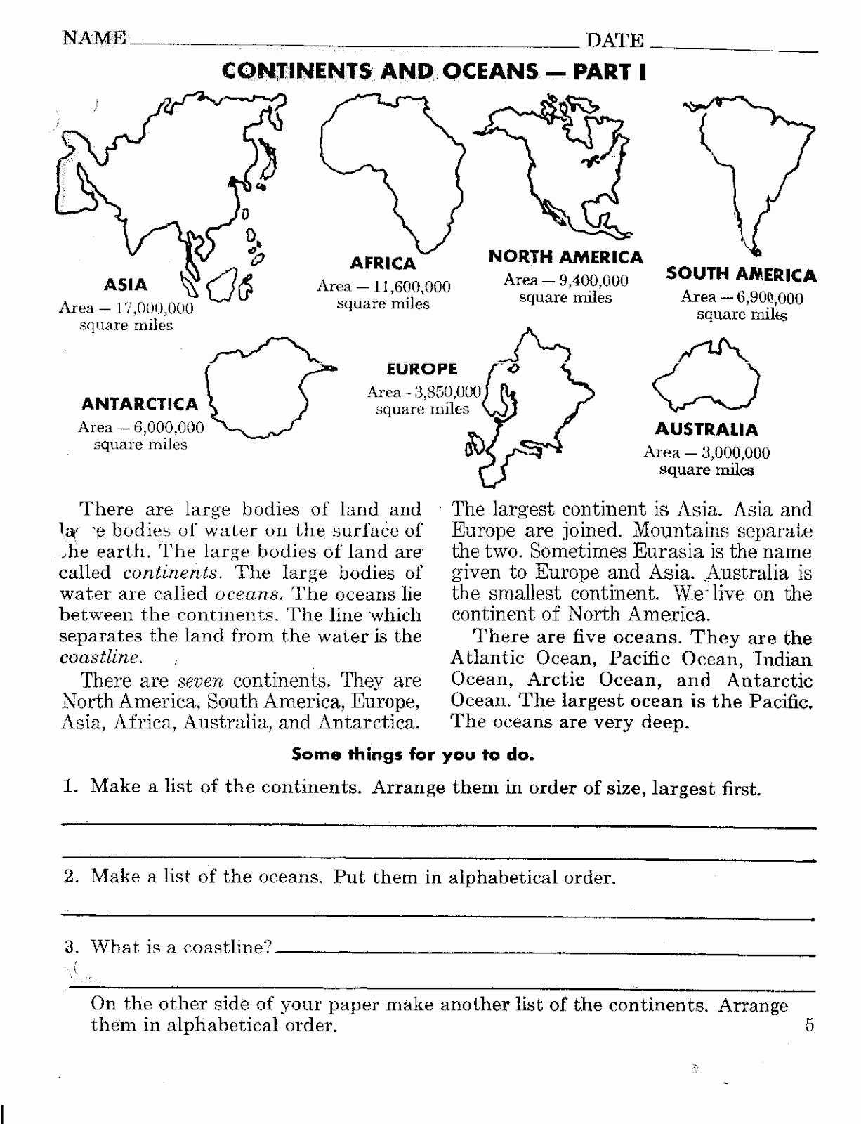 Continents and Oceans Worksheet Unique Continents and Oceans Worksheets