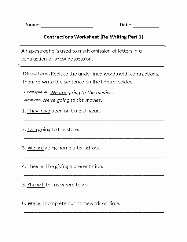 Contractions Worksheet 2nd Grade Beautiful Re Writing Contractions Worksheet Part 1