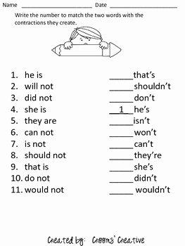Contractions Worksheet 2nd Grade Fresh Contraction Match Worksheet by Crooms Creative