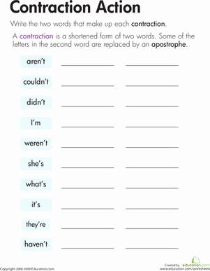 Contractions Worksheet 2nd Grade Inspirational Contraction Action Worksheet