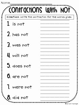 Contractions Worksheet 2nd Grade Lovely Contractions with Not Worksheet by Whitney Gulledge
