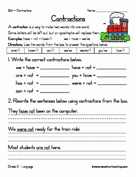 Contractions Worksheet 3rd Grade Awesome Contractions Worksheet by Have Fun Teaching