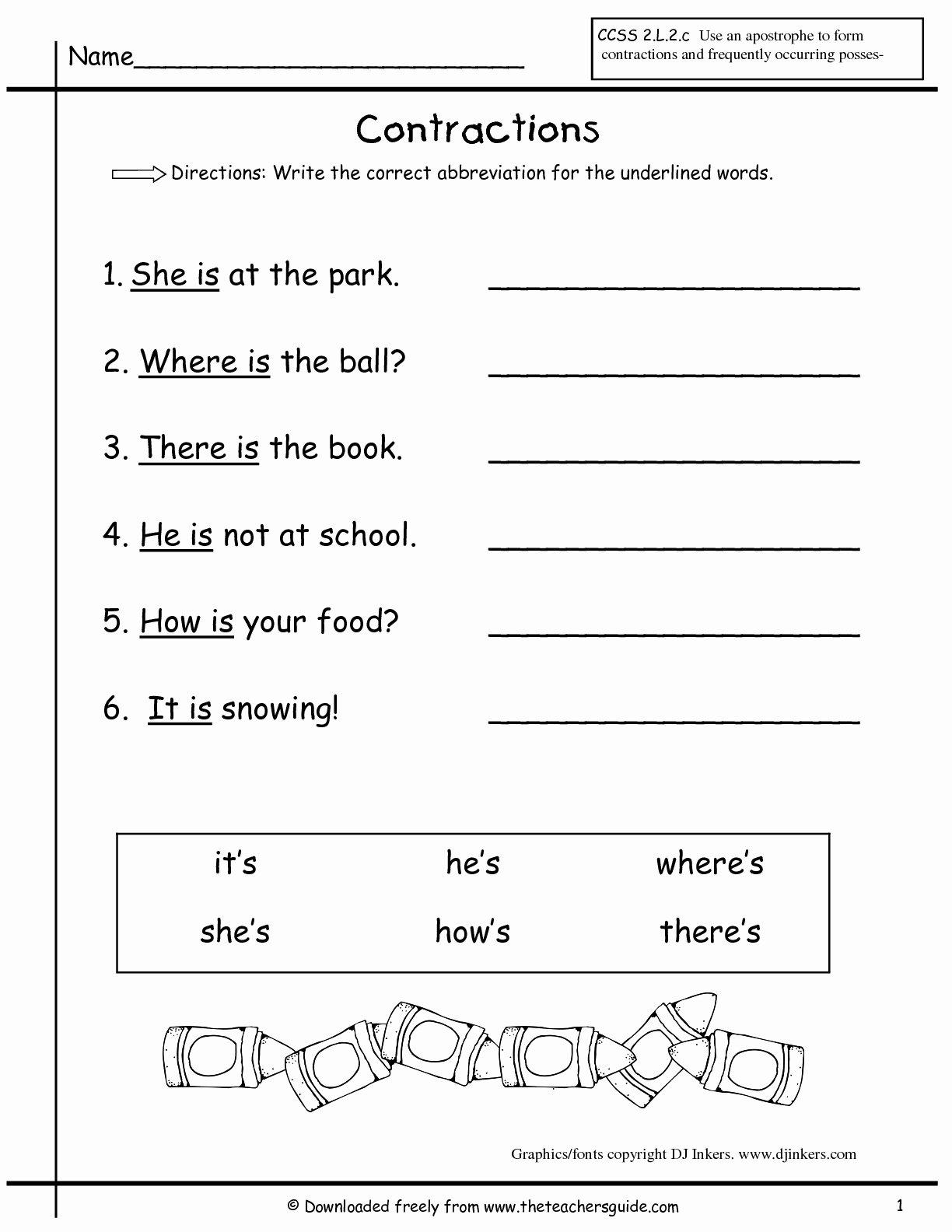 Contractions Worksheet 3rd Grade Best Of 17 Best Of 3rd Grade Worksheets Contraction