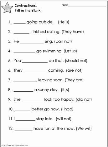 Contractions Worksheet 3rd Grade Best Of Contractions Worksheet 2 Worksheets