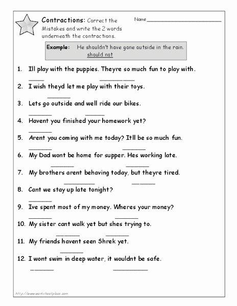 Contractions Worksheet 3rd Grade Elegant Contractions Worksheet for 3rd Grade