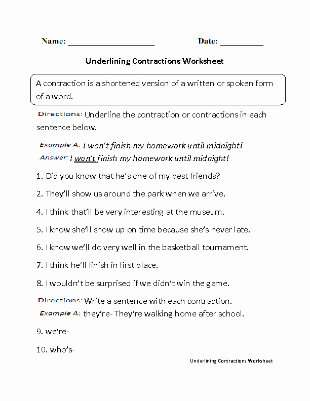 Contractions Worksheet 3rd Grade Fresh 16 Best Of English Contractions Worksheets