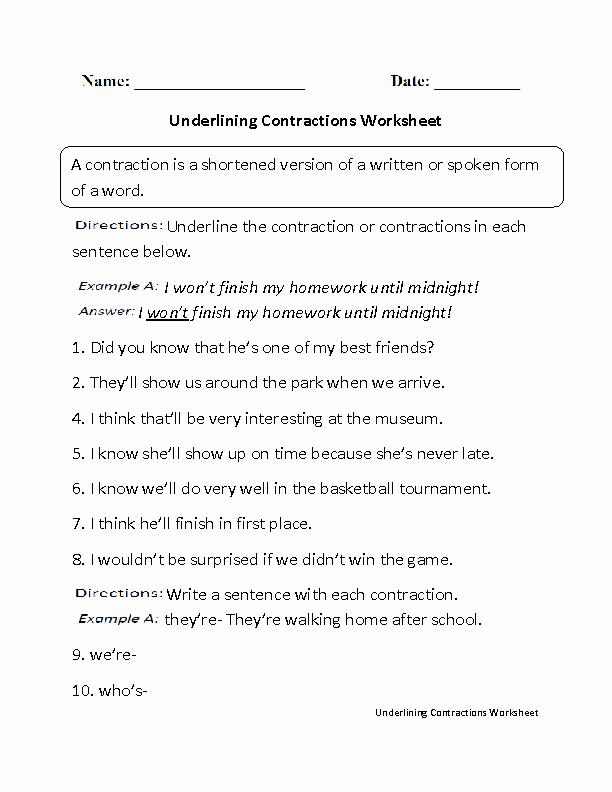 Contractions Worksheet 3rd Grade Fresh 16 Best Of English Contractions Worksheets