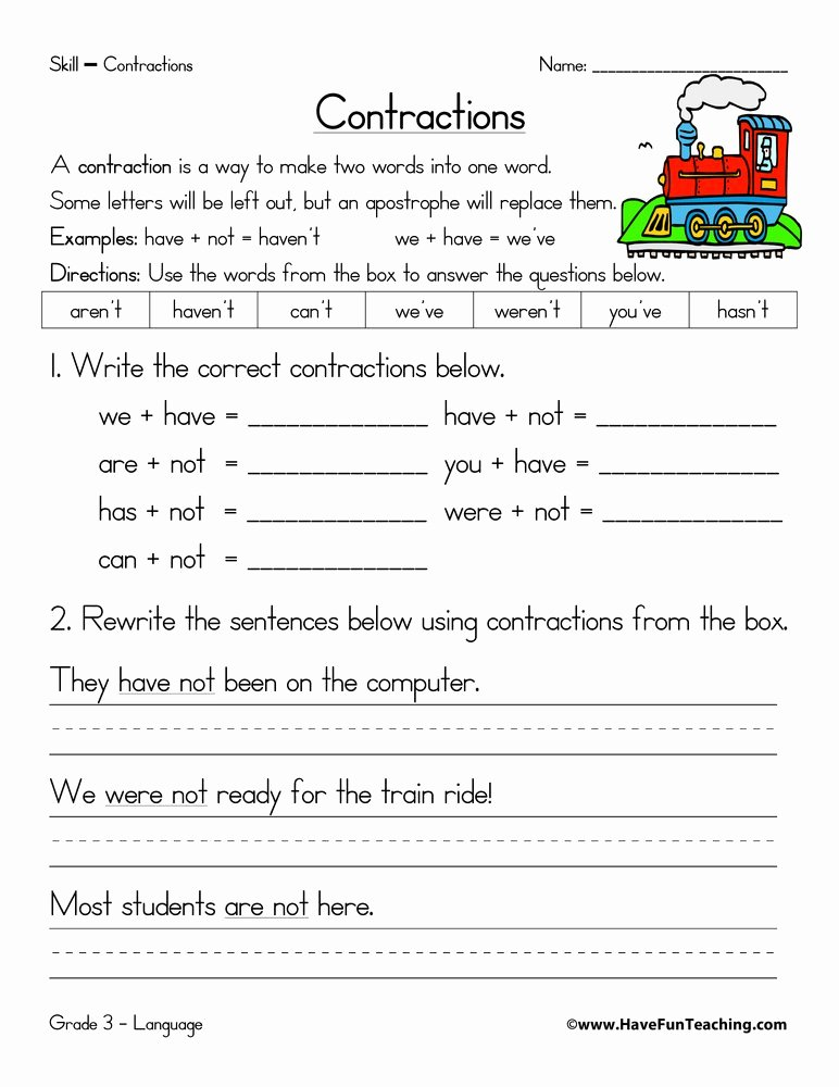 Contractions Worksheet 3rd Grade Fresh Contractions Worksheets