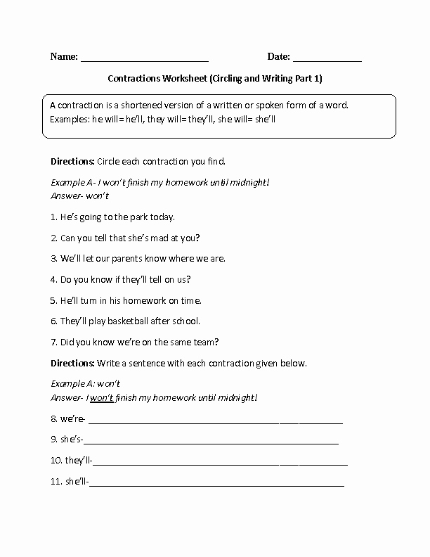 Contractions Worksheet 3rd Grade Fresh Englishlinx