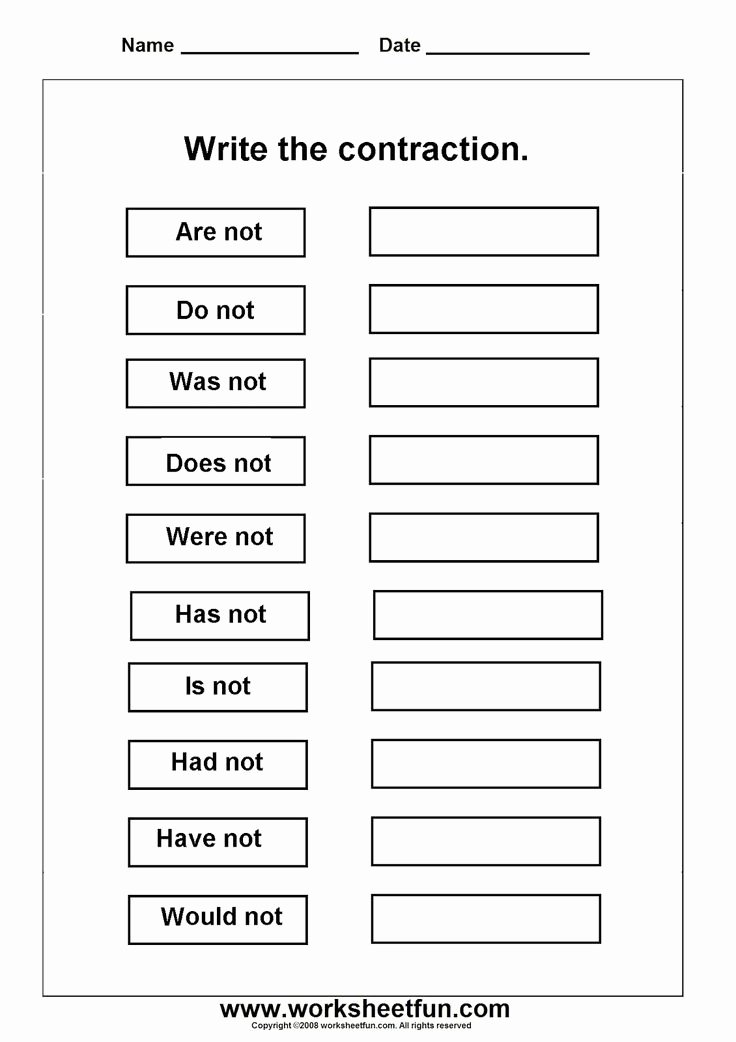 Contractions Worksheet 3rd Grade Lovely 16 Best Of English Contractions Worksheets